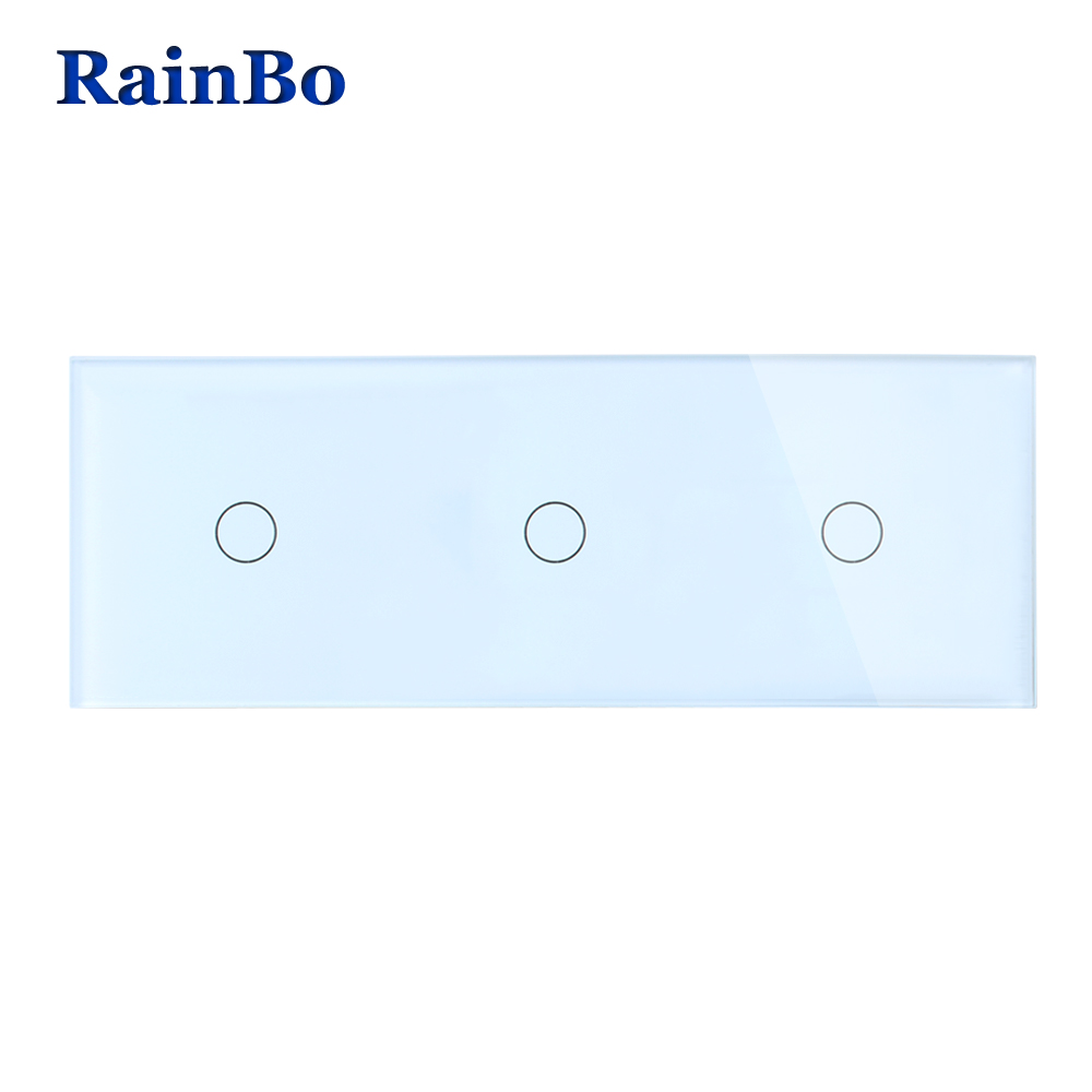 RainBo Brand 3Frame Crystal Glass Panel Switch Wall Switch EU Touch Switch  Wall Light Switch  1gang1way 110~250V A39111111CW/B eu us smart home remote touch switch 1 gang 1 way itead sonoff crystal glass panel touch switch touch switch wifi led backlight