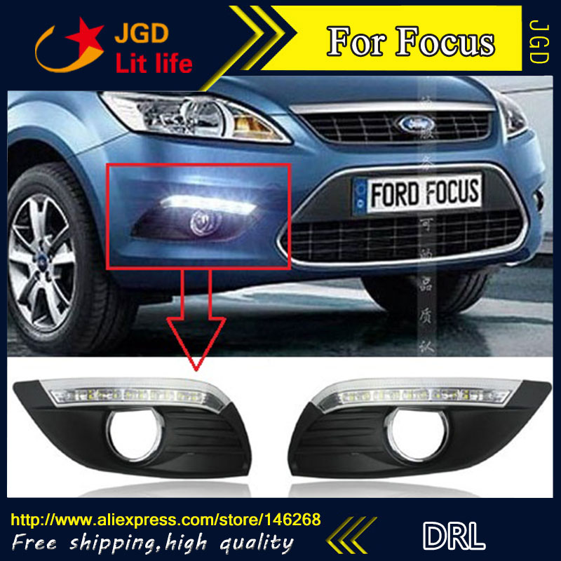 Free shipping ! 12V 6000k LED DRL Daytime running light for Ford Focus 2009 2010 2011 2012 Fog lamp frame Fog light Super White free shipping car refitting dvd frame dvd panel dash kit fascia radio frame audio frame for 2012 kia k3 2din chinese ca1016