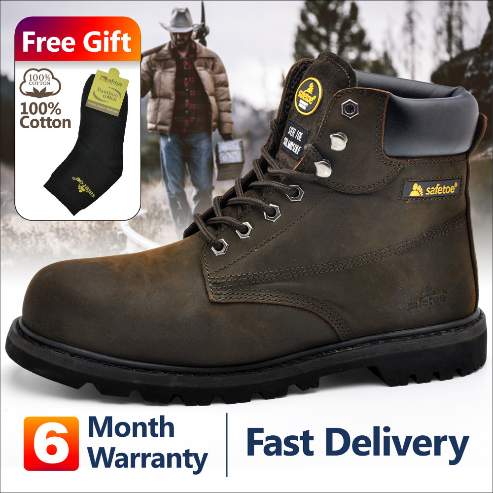 Safetoe Mens Work Boots Safety Shoes Trainers Steel Toe Brown Extra Wide Cow Leather Steel Plate Midsole US Size 4-13 SRC