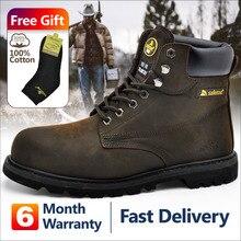 Safetoe Mens Work Boots ความปลอดภัยรองเท้าเหล็กสีน้ำตาลกว้างวัวหนังเหล็กแผ่นรองพื้นขนาด 4 13 SRC