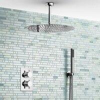 16 Ceiling Round Mixer Thermostatic Shower Set Ultra Thin Head Bathroom Chrome Valve Set