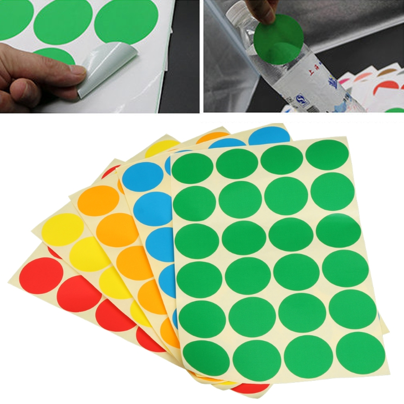 5 Sheet Permanent Adhesive Coding Stickers Round Circle Dots Bright Colors Label Set New