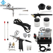 OPHIR Dual Action & Single Action Airbrush Kit met Tank Air Compressor Air Brush Pistool voor Model Hobby Nail Art_AC090 + 004A + 071 + 069(China)