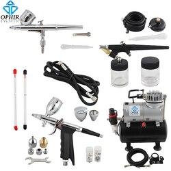 OPHIR Dual Action & Single Action Airbrush Kit met Tank Air Compressor Air Brush Pistool voor Model Hobby Nail Art_AC090 + 004A + 071 + 069