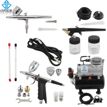 OPHIR 3-Airbrushes Dual Action & Single Action Air Brush Compressor Kit with Tank for Hobby Temporary Tattoo#AC090+004A+071+069
