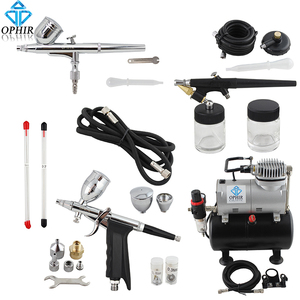 Image 1 - OPHIR Dual Action&Single Action Airbrush Kit with Tank Air Compressor Air Brush Gun for Model Hobby Nail Art_AC090+004A+071+069