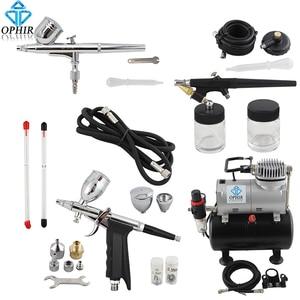 Image 1 - OPHIR Kit daérographe double Action et simple Action, avec réservoir dair compresseur, pistolet à Air pour modèle Hobby Nail Art_AC090 + 004A + 071 + 069