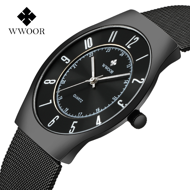 все цены на 2017 Top Luxury Brand WWOOR Men Ultra Thin Waterproof Sports Watches Men's Quartz Wrist Watch Male Black Clock relogio masculino