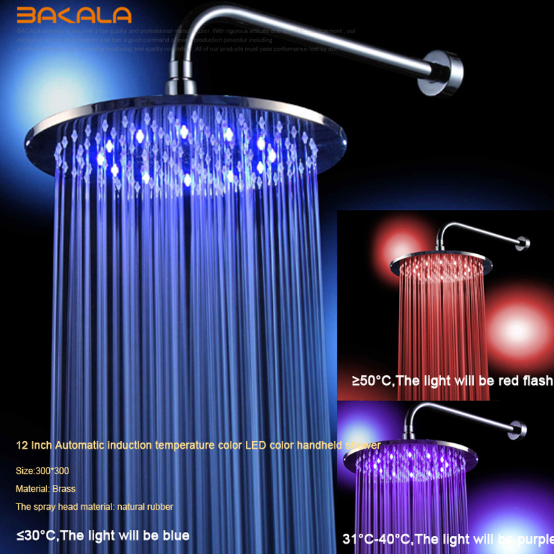 Shower Heads Dependable Sble Water Power Colorful Led Shower Head Handheld Temperature Sensor Light Shower Head No Battery Bathroom Accessories 3 Colors