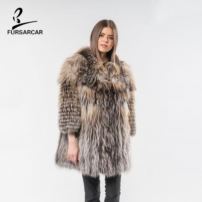 FURSARCAR 2019 New Real Silver Fox Fur Winter Coat For Women Luxury Genuine Natural Fur Outerwear Plus Size Long Striped Jacket