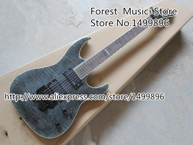 Cheap Wholesale & Retail Musical Instrument Grey Quilted ESP Deluxe LTD MH-1000 Electric Guitar with Floyd Rose Tremolo