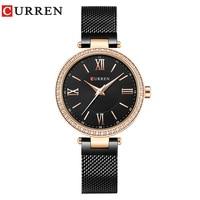 Top Luxury CURREN Women Watch Brand Casual Fashion Quartz Wristwatches Crystal Design Ladies Gift relogio feminino Montre Femme