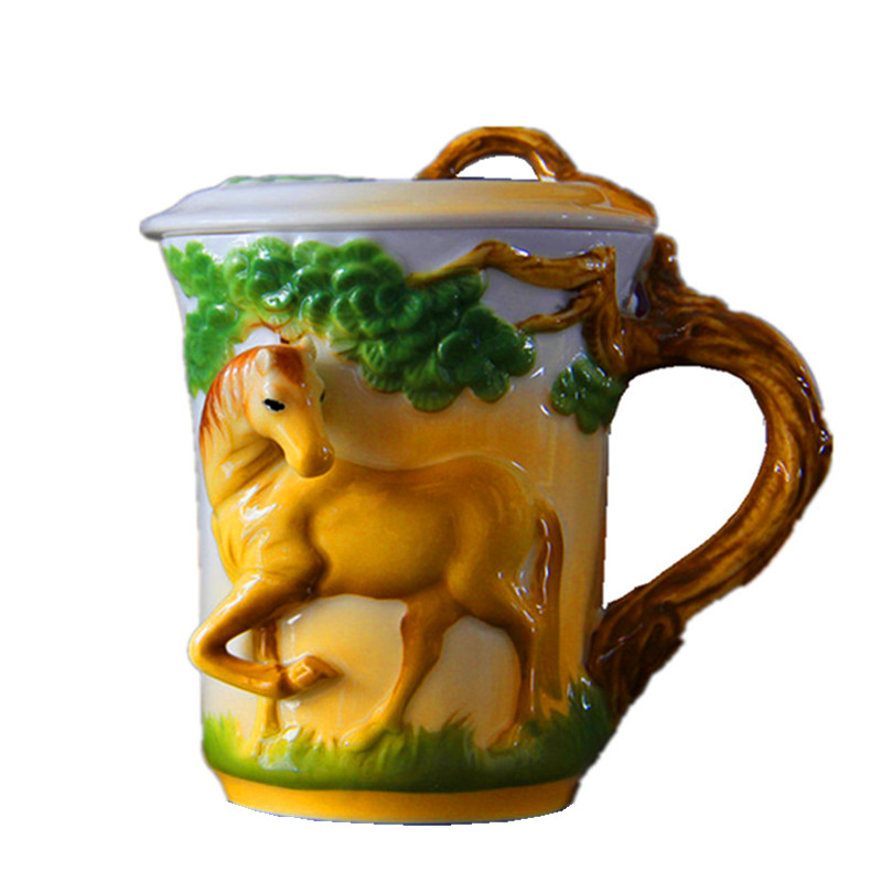 250ML enamel horse tea cups and mugs porcelain coffee mug with cover handmade 3D drinkware