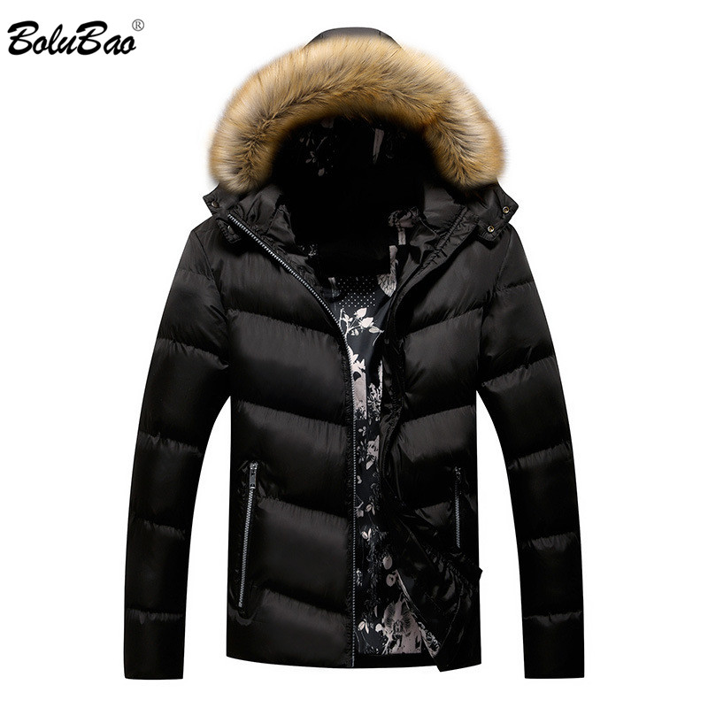 BOLUBAO Winter   Parka   Jacket Men Warm Thick Hooded   Parkas   Coat Fur Collar Jacket Coats Male Windproof   Parkas