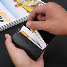 portable 7 sticks cigarettes storage box stainless steel PU container case holder smoking accessorie