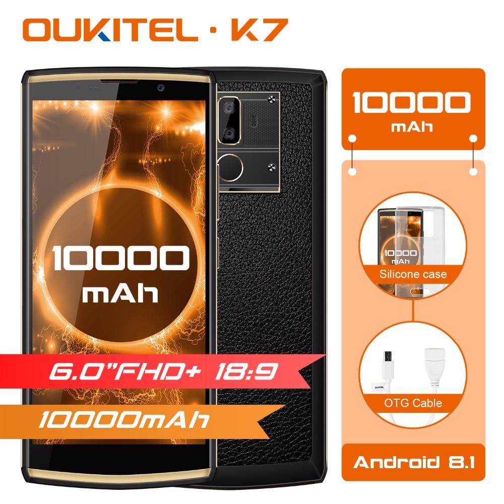 Original Oukitel K7 18:9 affichage complet 6.0 ''FHD Android 8.1 4 GB 64 GB MT6750T Octa Core 13MP double caméra 10000 mAh 9 V/2A Smartphone OTG
