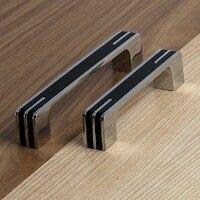 96mm Shiny Silver Cabinet Handles Black Cupboard Pull Knob Chrome Drawer Dresser Wardrobe Furniture Hardware Handles