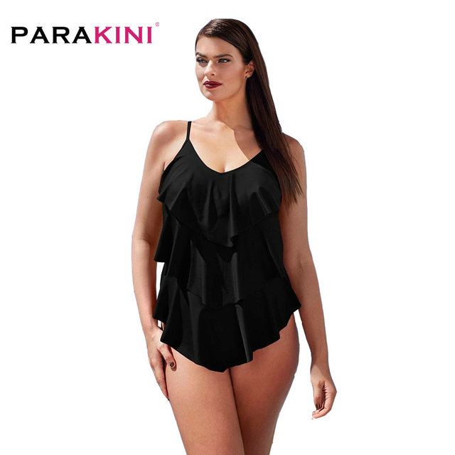 87a3ebf0ce PARAKINI One Piece Swimsuit Mature Women Cover Belly Swimwear Slimming  Vintage Retro Bodysuit Bathing Monokini Plus Size 3XL