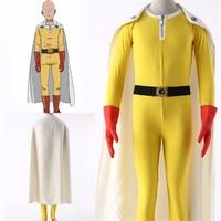 Anime Cartoon ONE PUNCH MAN Saitama Cosplay Costumes SuperHero Kids Adults Cotton Jumpsuits Bodysuits Zentai Cloak Suits New