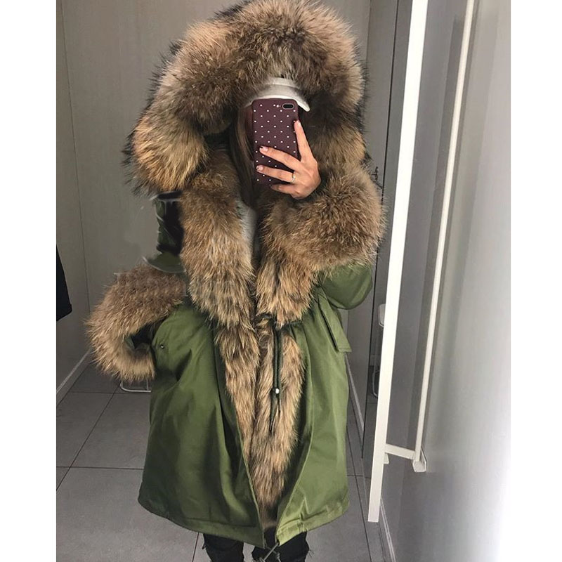 Fandy Lokar Real Fur Parka Women Winter Jackets Real Raccoon Fur Hood Coat Nature Rabbit Fur Lining Jacket Female Real Fur Coat(China)