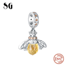 High Quality 925 Sterling Silver Bee Charm Beads With Clear CZ bead fit Pandora Bracelet Pendant DIY Fashion Jewelry Women Gift