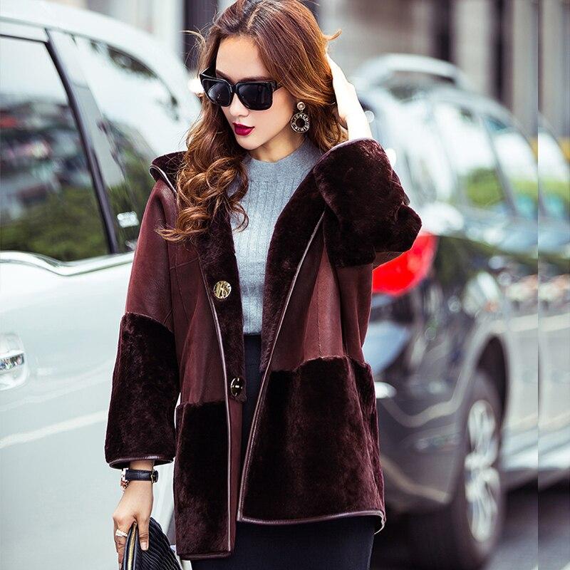 2017 casaco de lã de inverno calor e real natural casaco de pele de carneiro das mulheres com tampa de vento para entrega gratuita (M34112)