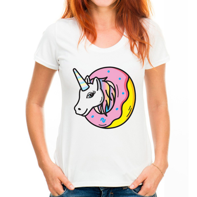 d57a5e5ef41 Casual T shirt Women Donut Unicorn Printed Short Sleeve O-neck HarajukuTop  Tees