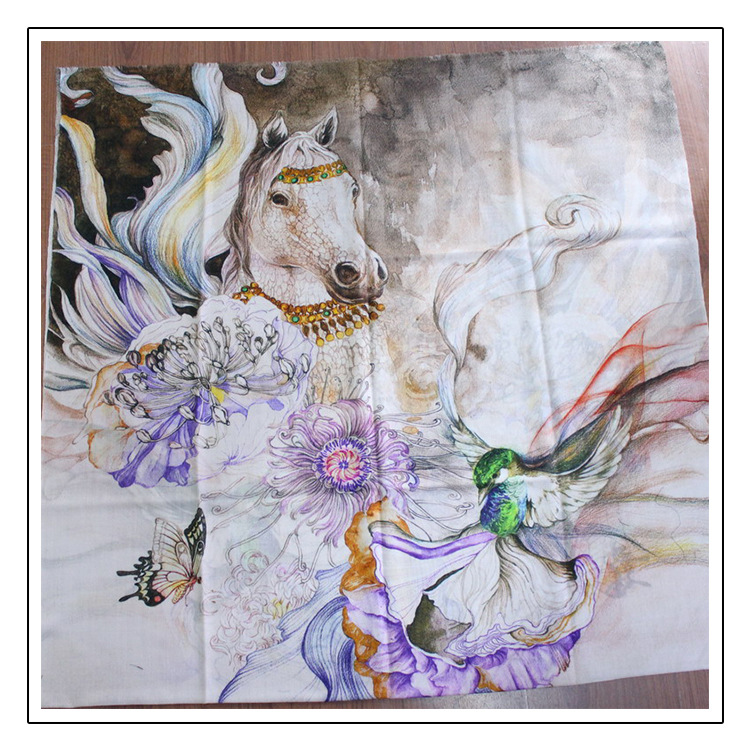 Flying Horse Scarf Women Pure 300s Cashmere Female Scarves Winter Shawls Wraps Warm 200*100cm