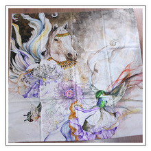 Flying Horse Scarf Women Pure 300s Cashmere Female Scarves W