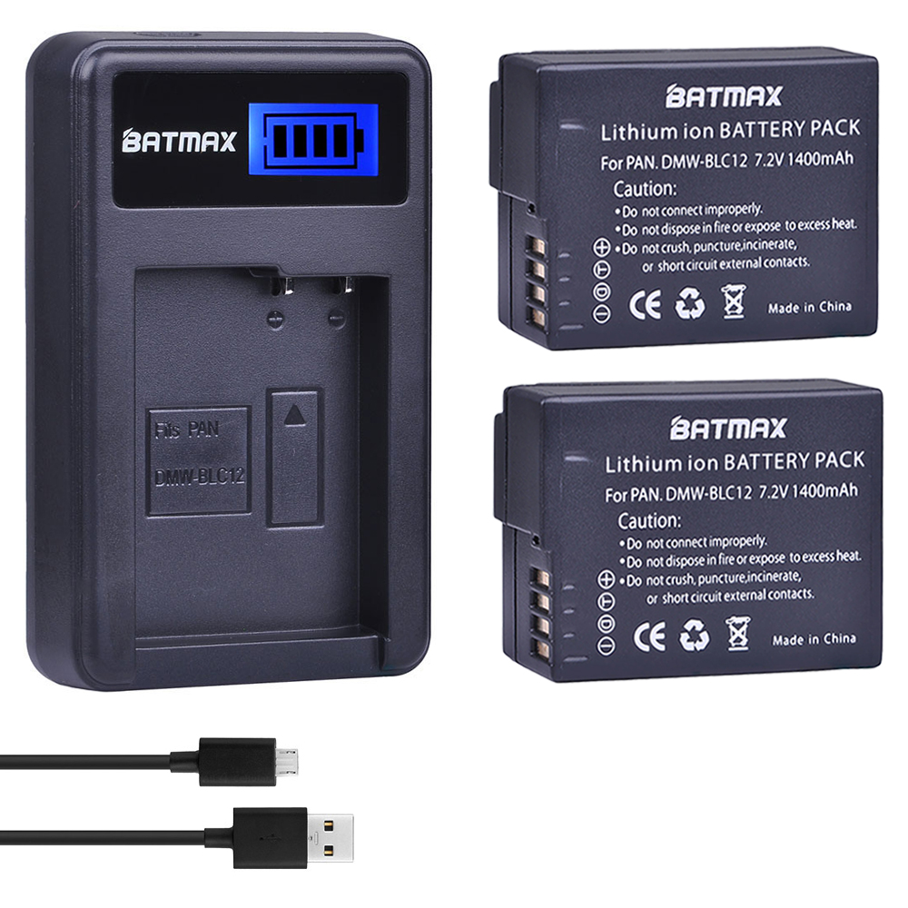 2Pcs DMW-BLC12 DMW-BLC12E BLC12 Battery + USB LCD Charger for Panasonic Lumix DMC-FZ200,FZ300,FZ1000,FZ2500,G5,G6,G7,GX8,G85 3pc dmw blc12 dmw blc12e blc12 1400mah rechargeable li ion battery dual charger for panasonic fz1000 fz200 fz300 g5 g6 g7 gh2 page 4