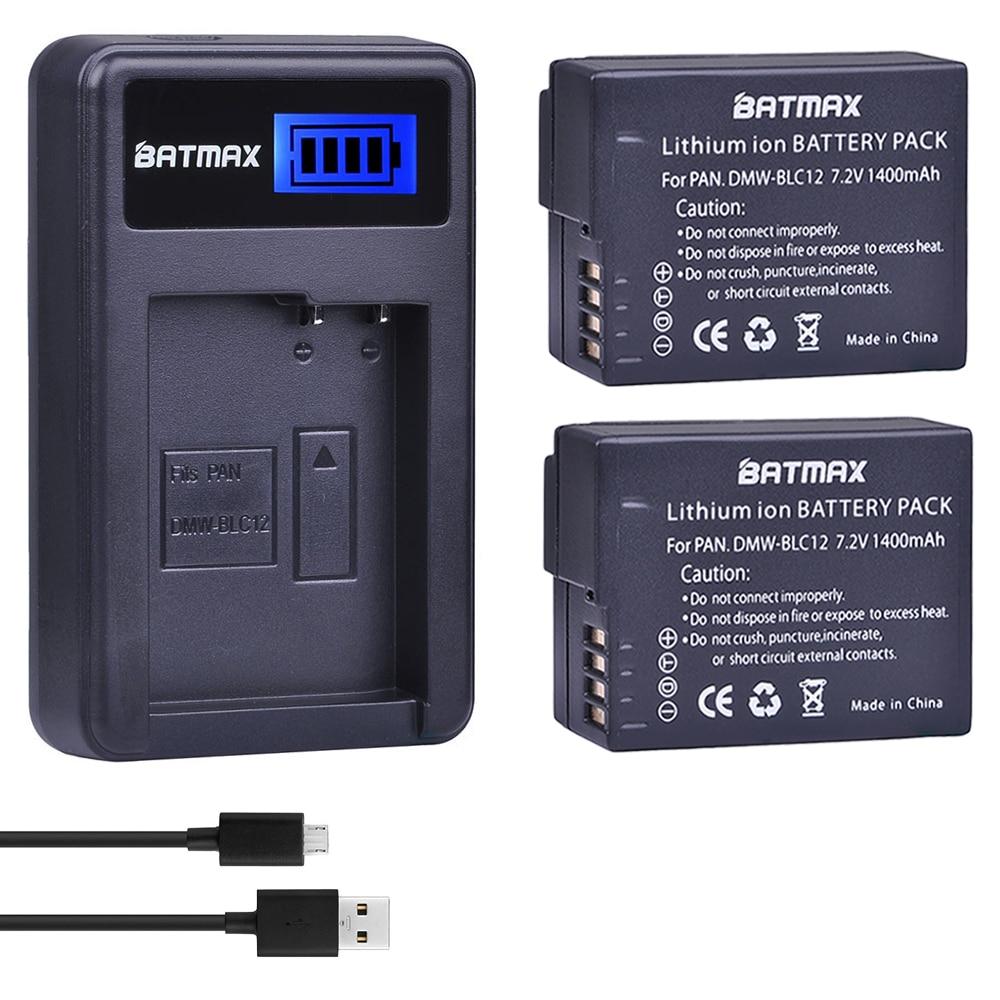 2Pcs DMW-BLC12 DMW-BLC12E BLC12 Battery + USB LCD Charger For Panasonic Lumix DMC-FZ200,FZ300,FZ1000,FZ2500,G5,G6,G7,GX8,G85