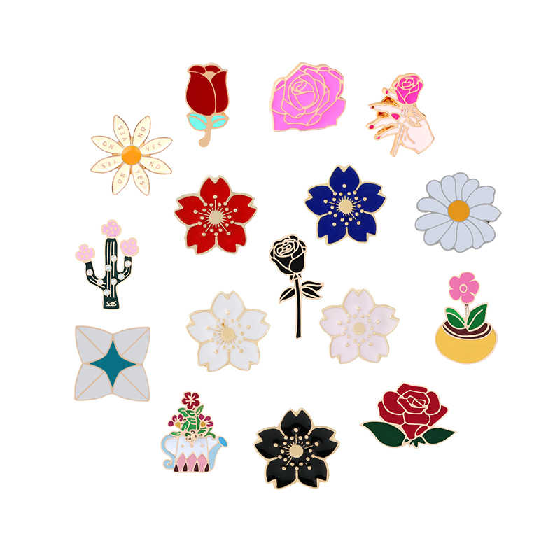 Lots of Flowers Women Brooches Enamel Pin Rainbow Sunflowers Japan Cherry Blossoms Rose Peony Mimosa Badges Metal Backpack Icons