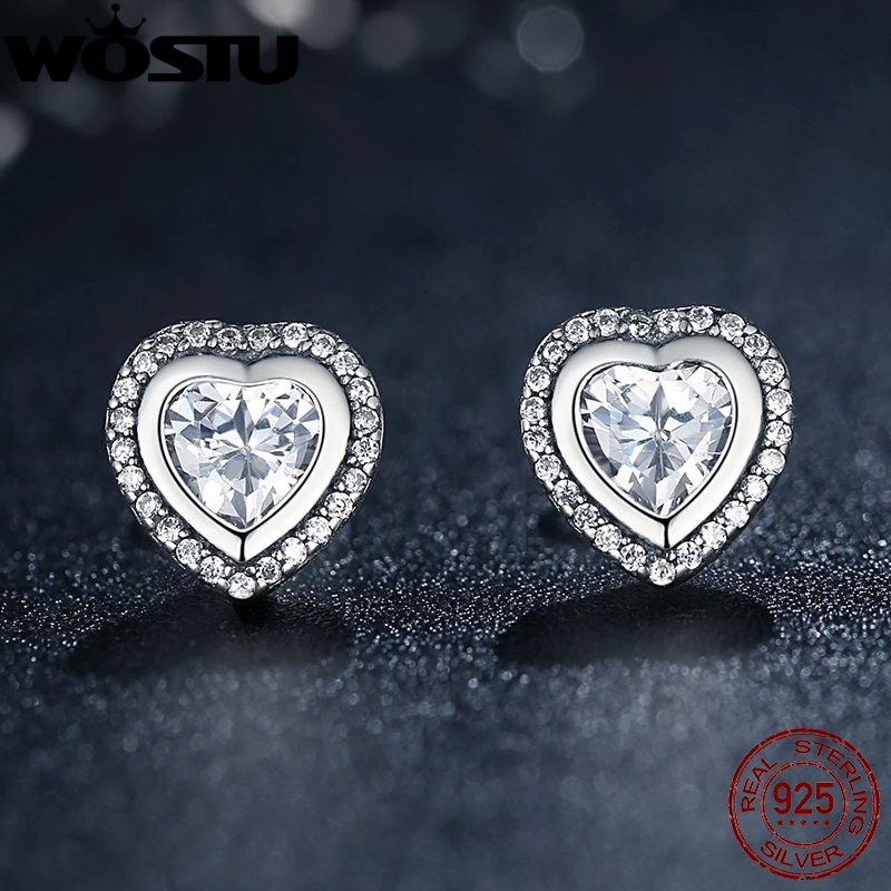 Original 925 Sterling Silver Sparkling Love Stud Earrings For Women With Clear Cz Jewelry Gift Xchs405 In From