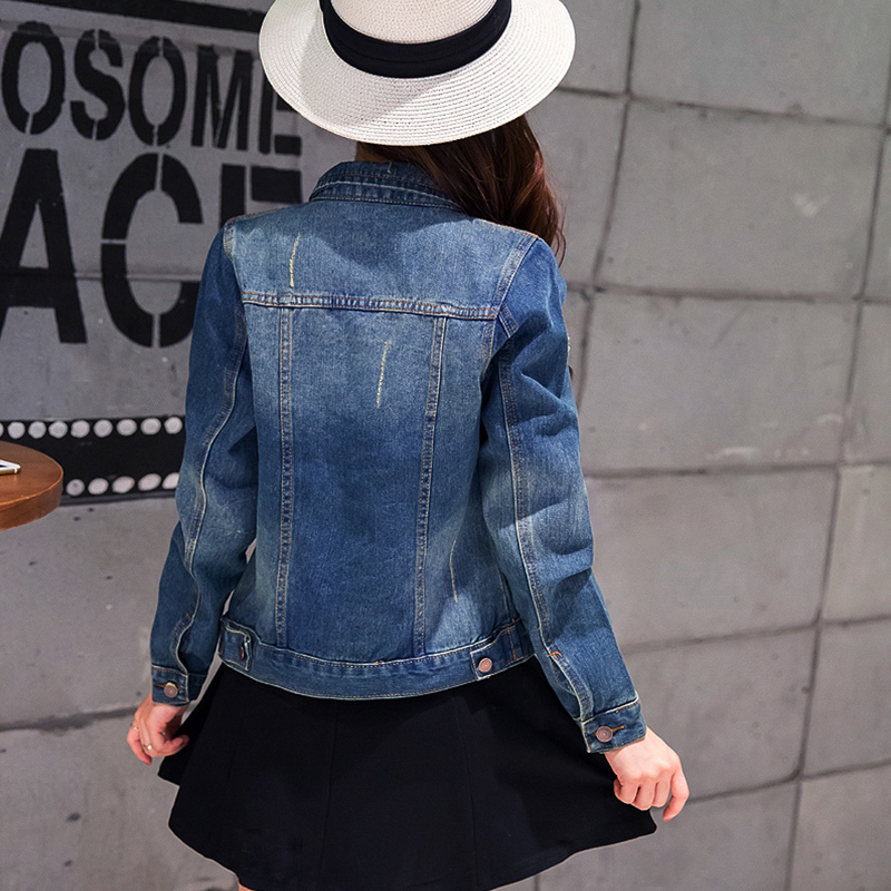 2019 Spring Denim Jacket For Women Plus Size Long Sleeve Single Breasted Jeans Jacket Women Denim Coat Ladies Coats Jacket in Jackets from Women 39 s Clothing