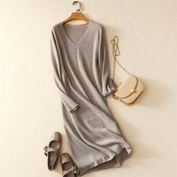 Cashmere Dress Long Sleeves Solid Color Christmas Dress Girl High end Autumn/winter Womens Pure Cashmere Dress