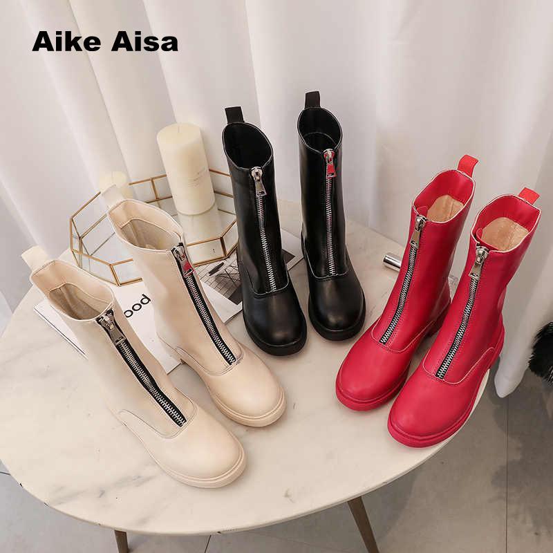Rosa Bajo Nieve Zapatos Botas black Invierno La Caliente Mujeres Cremallera Beige rosy Espesado De Martinflat Negro Red Tubo Mujer Mantener Medio 2019 vBpZ0qv