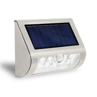 9LED Stainless Steel Waterproof Solar Wall Lamp Household Garden Infrared Induction Wall Lamp Courtyard Fence Lamp