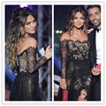 2016 New Vestidos De Festa Black Lace Sexy Celebrity Prom Dresses Sheer Long Sleeves Arabic Formal Side Slit Evening Gowns