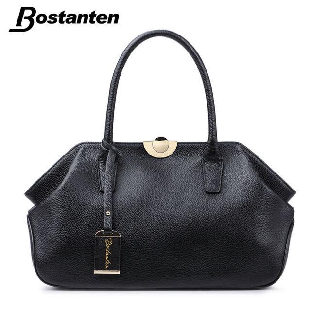 Bostanten bolsos de cuero genuinos de las señoras de cuero real bolsos de las mujeres bolsos de alta calidad bolsa de asas para las mujeres negro clip de moda hobos
