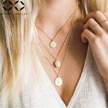 Quinby Baroque Pearls Necklace Women Heart Pendant Necklace Gold  Chain Chokers Necklace Girl Irregular Pearl Party Jewelry Q5 original design g9k gold baroque big pearl long necklace sweater chain fine pendant necklace for women and girl high end luxury