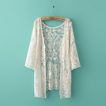 Nice Spring Women Lace Blouse Nice Fashion Shawl Shirt Loose Cardigan Shirt Batwing Sleeve Elegant Blouse Style Designers