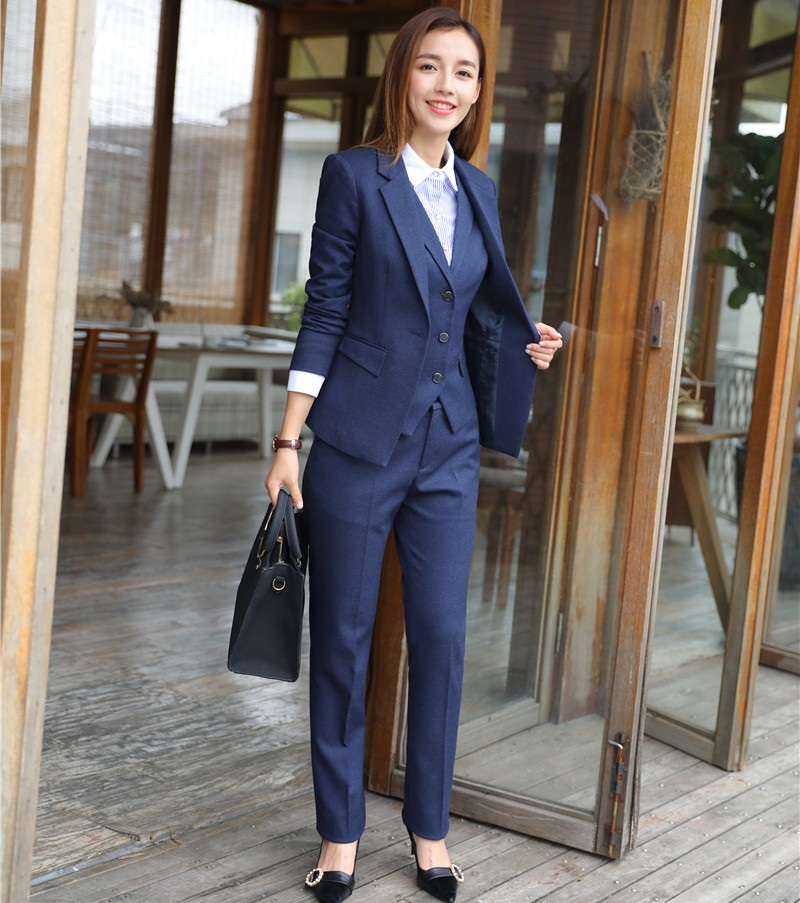 High Quality Fiber - Formal 3 Piece Sets Women Business Suits Waistcoat Pant And Jacket Sets Office Uniform Designs