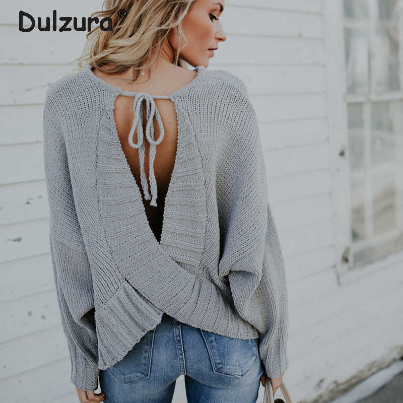 335fe53050a265 Sexy Backless Sweaters Women Autumn Winter Tops Chenille Sweaters and  Pullovers Cozy Soft Jumper Women Casual