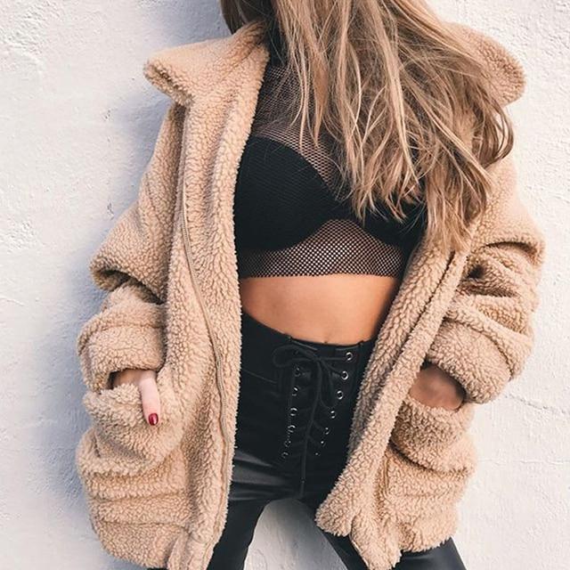 0317eda5bc8f0 S-4XL Oversized Faux Teddy Bear Coat Loose Autumn Winter Warm Thick Bomber  Jacket Outwear Women Plus Size Fuzzy Zipper Jackets
