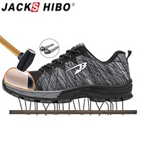 JACKSHIBO Boots Work Men Summer Breathable Safety Shoes Anti smashing Steel Toe Work Boots Indestructible shoes Working Shoes