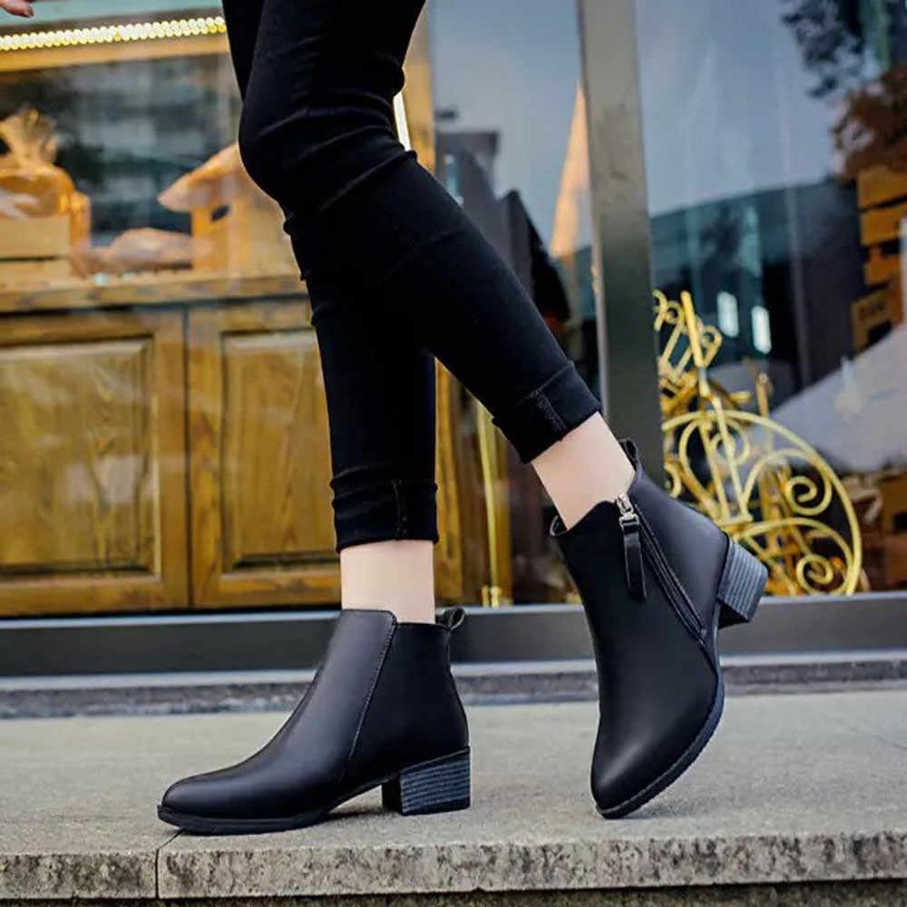 Ayakkabı kadın yeni moda tasarımcısı güvenlik yarım çizmeler ayakkabı kadınlar için tıknaz topuk ön fermuar yuvarlak ayak Patchwork kadın patik