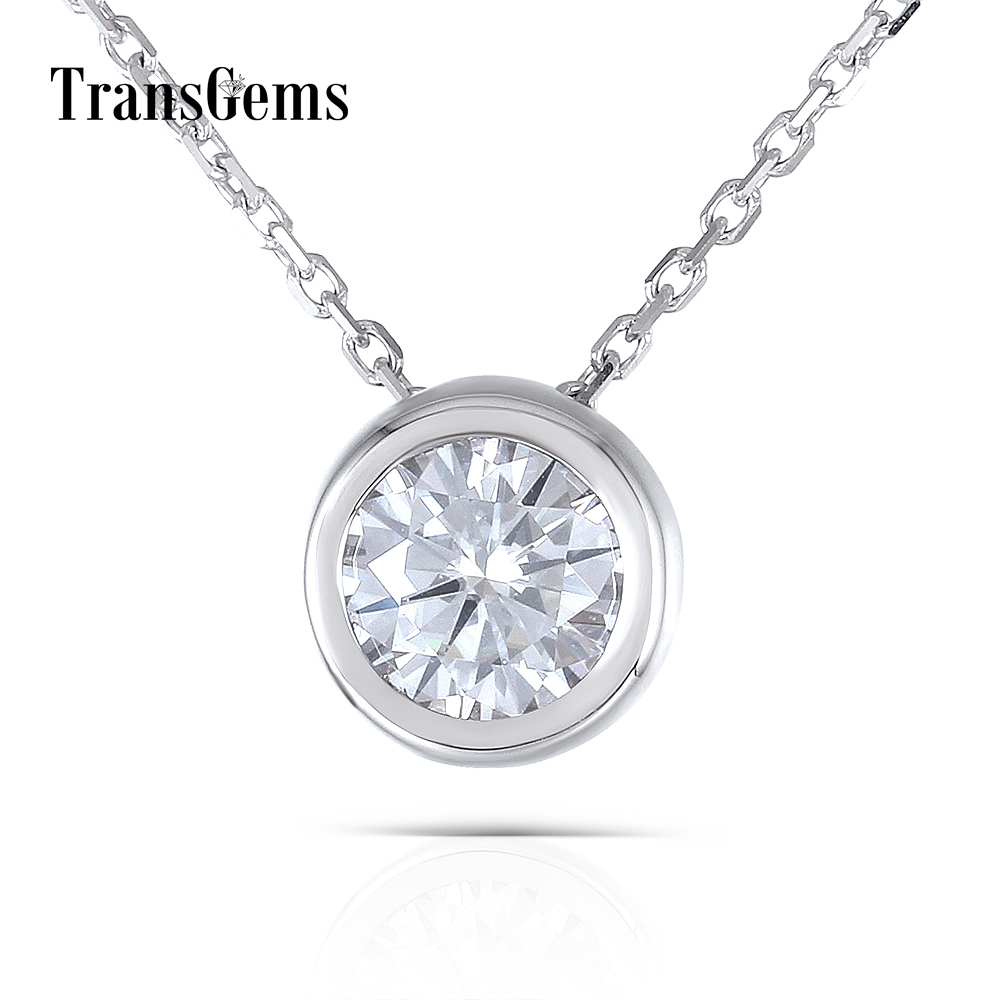 1 Carat 6.5MM F Color Lab Created Moissanite Diamond 18K 750 White Gold Bezel Setting Pendant Necklace for Women
