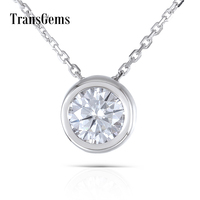 Transgems 1 Carat 6.5MM F Color Lab Created Moissanite Diamond 18K 750 White Gold Bezel Setting Pendant Necklace for Women