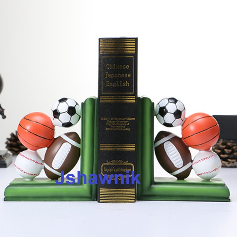 A Pair of Football Bookend Shelf Bookend Holder Office Supplies Home Decoration Book Stand a pair creative synthetic resin bookend shelf retro butterfly bookend holder office supplies home decoration book stand