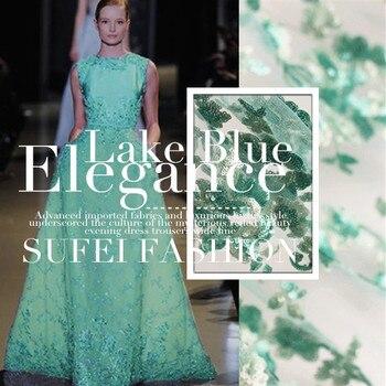 140cm wide green blue sequin gauze lace cheongsam dress fabric material wedding decoration